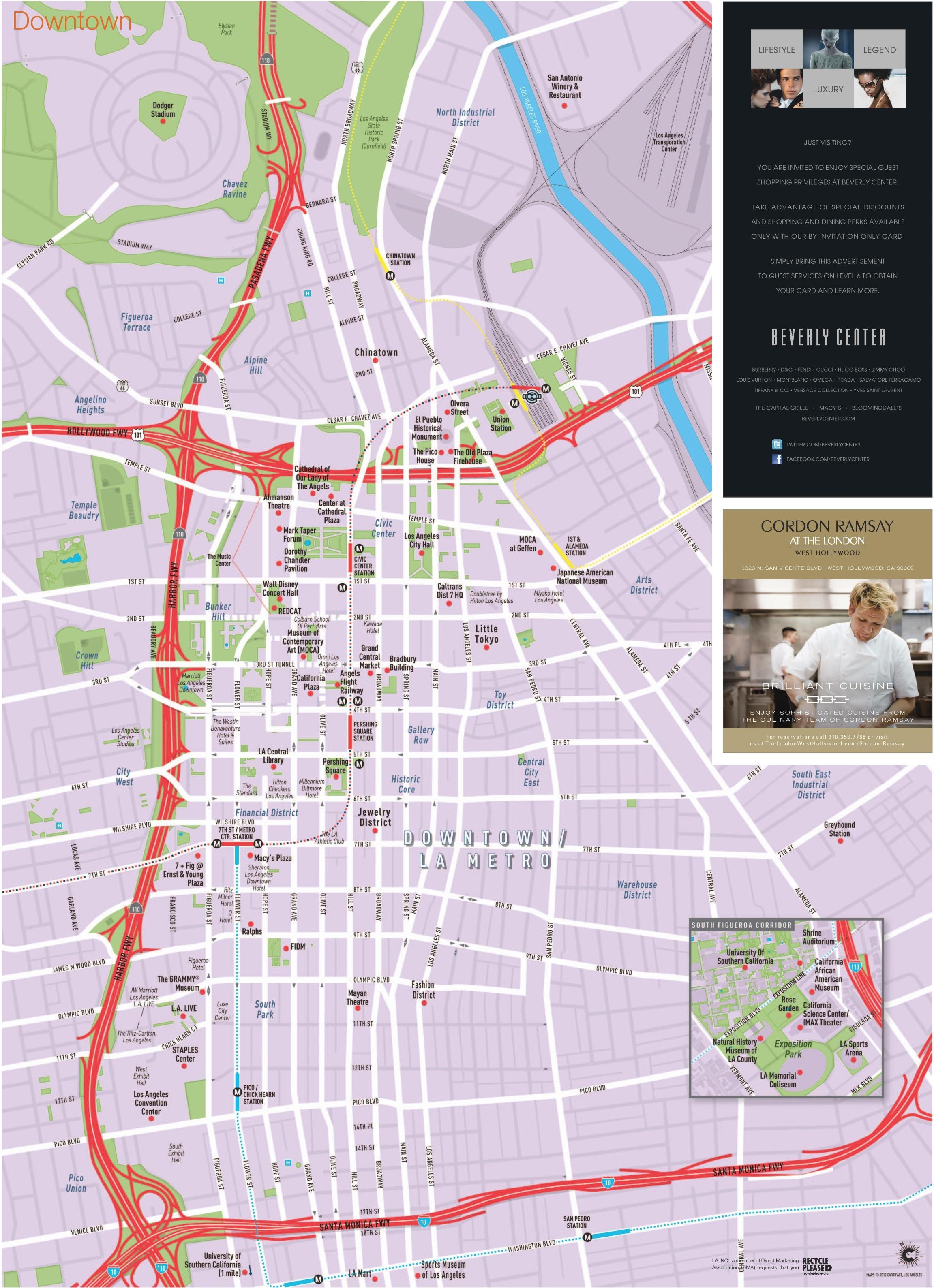 Los Angeles city street map - Straßenkarte der Innenstadt von Los on
